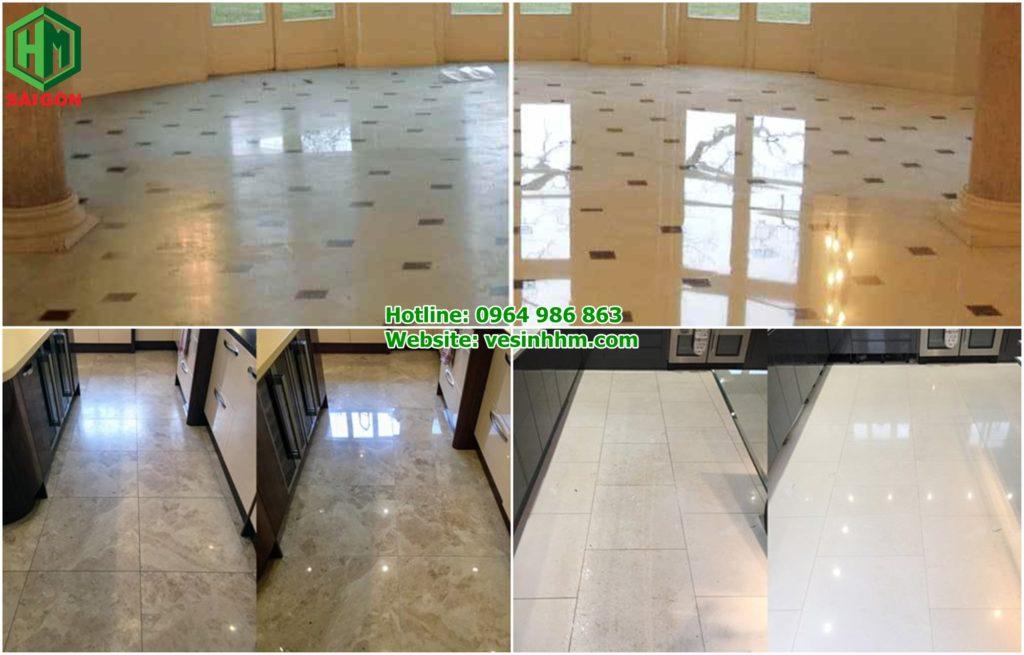 Dịch vụ đánh bóng sàn đá hoa cương, sàn đá cẩm thạch. trước và sau khi đánh sàn